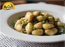 Potato Gnocchi With Peas, Bacon And Pesto