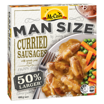 Man Size Curried Sausages