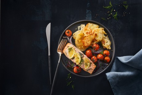 Delish Creamy Scalloped Potato Bake and Baked Salmon with Dill & Lemon